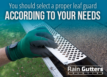 Installed rain gutters with a leaf guard