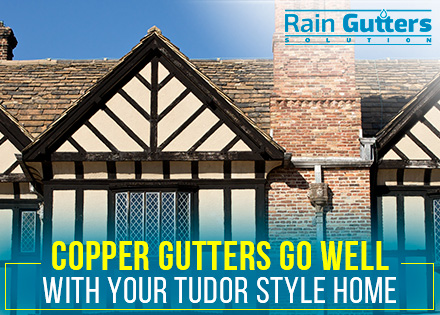 Colonial Tudor House with a Rain Gutter Installation