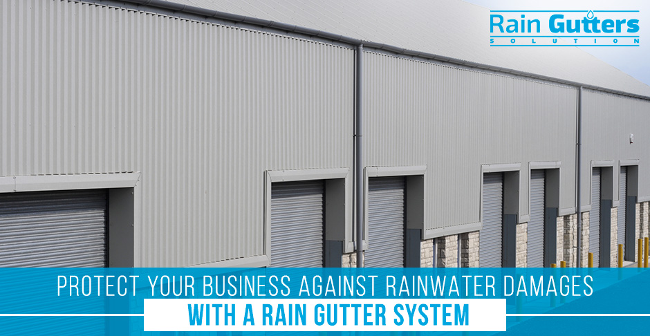 Business with a Commercial Rain Gutter and Downspout System