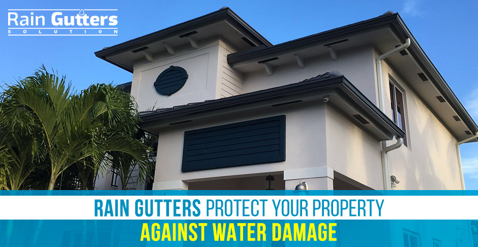 Rain Gutters Installation House with Rain Gutters Installed