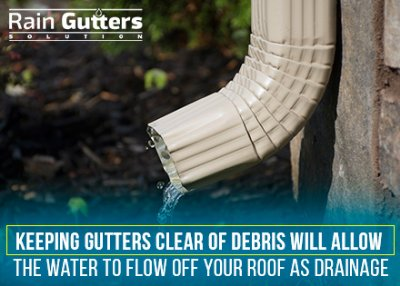 Rain Gutter Downspout with water