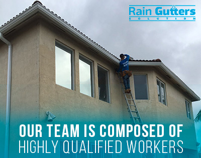Some of Our Professionals Doing a Rain Gutter Installation
