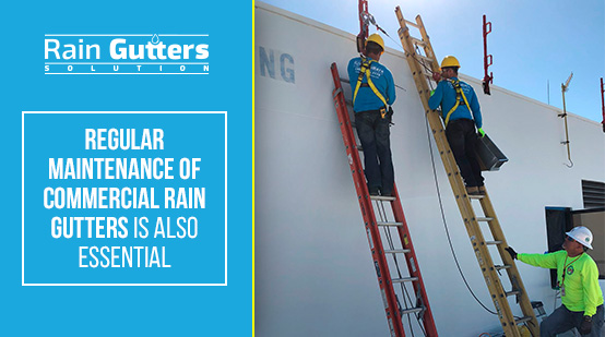 Rain Gutters Solutions Team Performing a Commercial Rain Gutter Service