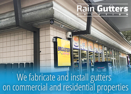 Convenience Storefront with a Rain Gutters System
