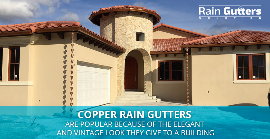 House with a Copper Rain Gutter System in Miami