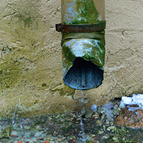 Rain gutter Downspout with mold