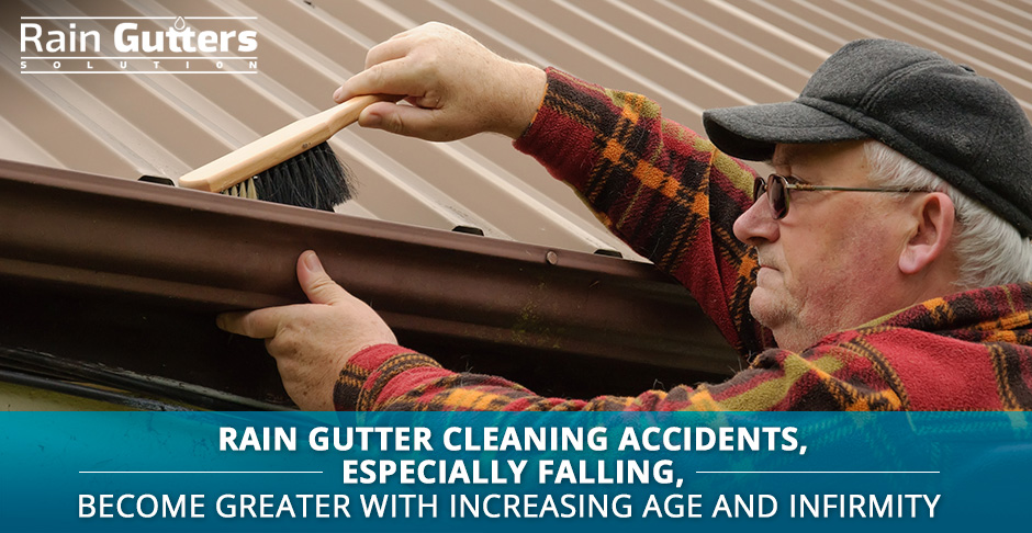 Senior man making a rain gutter cleaning