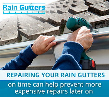 Rain gutter repair service at a residential building