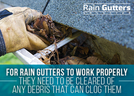 Rain gutters cleaning debris and leaves