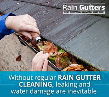 Rain gutter cleaning in fall season